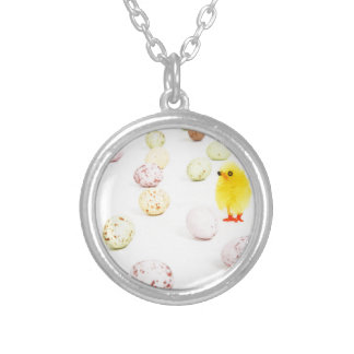 chick eggs easter round pendant necklace