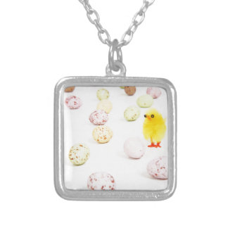 chick eggs easter square pendant necklace