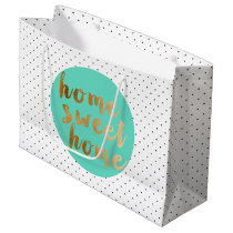 chick faux gold Home Sweet Home polka dots pattern Large Gift Bag