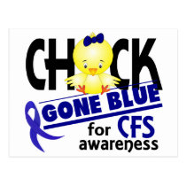Chick Gone Blue For CFS Chronic Fatigue Syndrome 2 Postcard