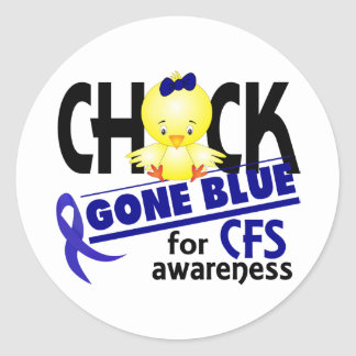 Chick Gone Blue For CFS Chronic Fatigue Syndrome 2 Round Stickers
