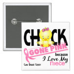 Chick Gone Pink For My Niece Breast Cancer Button
