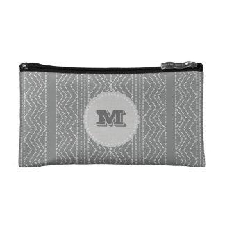 Chick Grey Pattern Monogram Makeup Bag