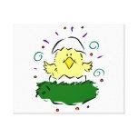 Chick half egg grass swirls canvas print
