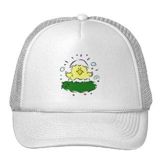 Chick half egg grass swirls trucker hat