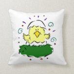 Chick half egg grass swirls throw pillows
