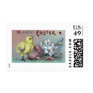 Chick Hatched from Pink Easter Egg Postage Stamp