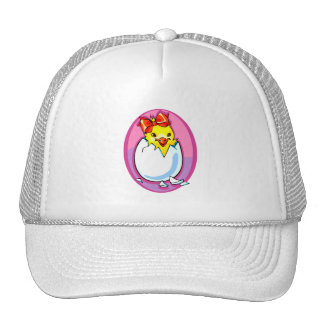 chick hatching red ribbon purple oval.png trucker hat