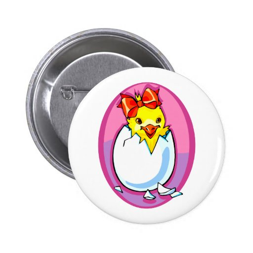 chick hatching red ribbon purple oval.png 2 inch round button