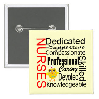 Chick Humor - Nurses Recognition Collage Pinback Button