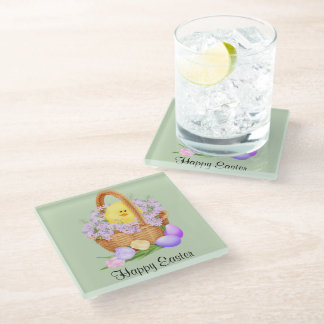 Chick in a Easter Basket Glass Coaster