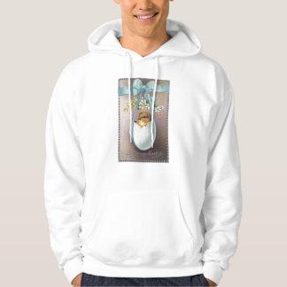 Chick in Dangling Eggshell Vintage Easter Hooded Sweatshirt