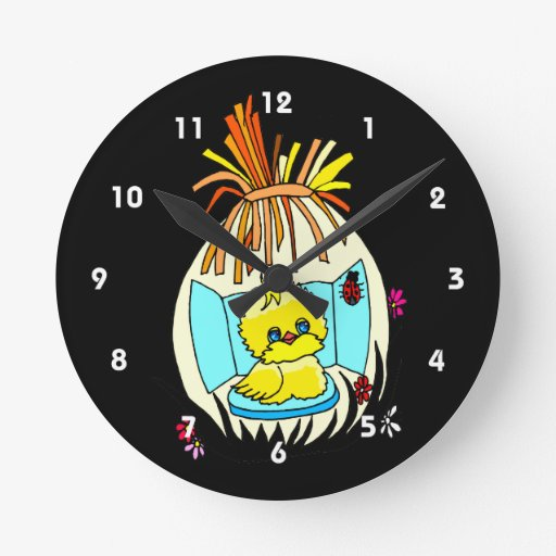 chick in easter wrapped basket ladybug round clocks