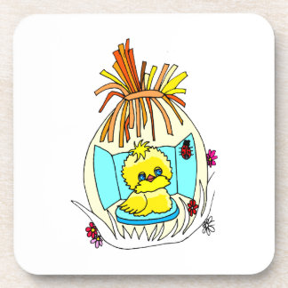 chick in easter wrapped basket ladybugs coaster