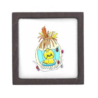 chick in easter wrapped basket ladybugs premium keepsake box