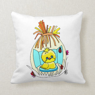 chick in easter wrapped basket ladybugs throw pillow