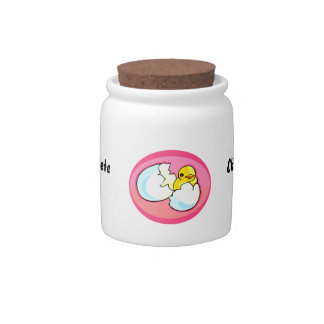Chick in egg pink oval candy jar