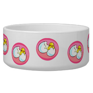 Chick in egg pink oval dog bowls