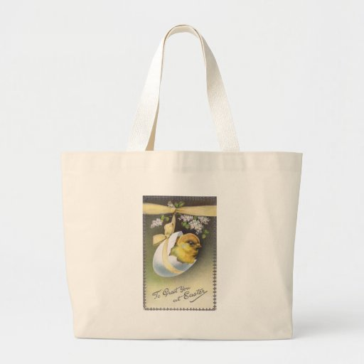 Chick in Hanging Eggshell Vintage Easter Canvas Bags