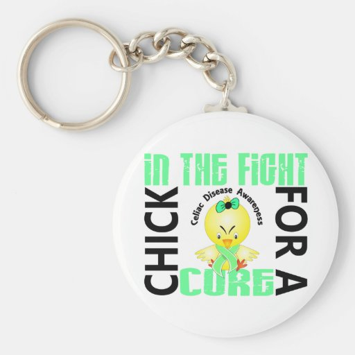 Chick In The Fight Celiac Disease Keychains