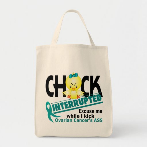 Chick Interrupted 2 Ovarian Cancer Grocery Tote Bag