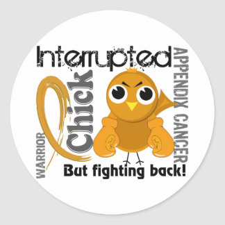 Chick Interrupted 3 Appendix Cancer Stickers