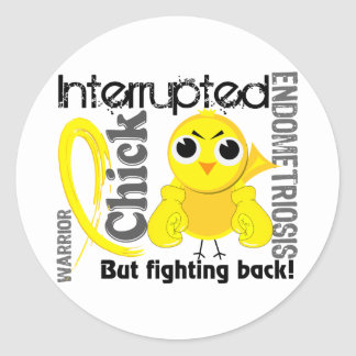 Chick Interrupted 3 Endometriosis Round Stickers