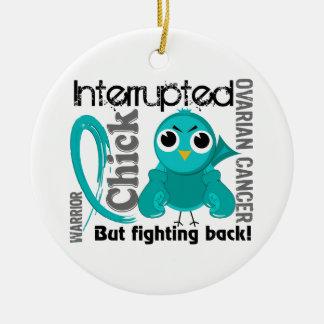 Chick Interrupted 3 Ovarian Cancer Ceramic Ornament