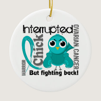 Chick Interrupted 3 Ovarian Cancer Ceramic Ornament
