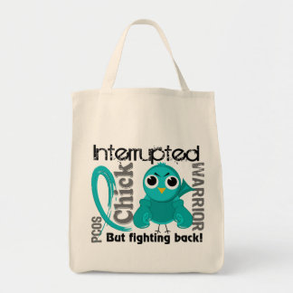 Chick Interrupted 3 PCOS Polycystic Ovary Syndrome Tote Bags