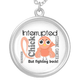 Chick Interrupted 3 Uterine Cancer Round Pendant Necklace