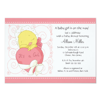Chick It's A Girl Baby Shower Card