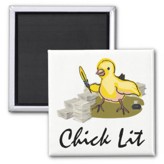 Chick Lit Writer with Paper and Feather Quill Magnet