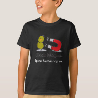 chick magnet and Rebel writing Spine Skateshop co. T-Shirt