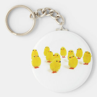 Chick magnet chillin with my peeps funny photo basic round button keychain