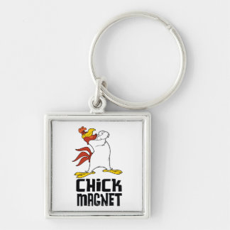 Chick Magnet Silver-Colored Square Keychain