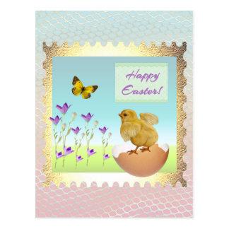 Chick on Cracked Egg in the Flower Garden Postcard