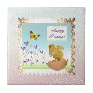 Chick on Cracked Egg in the Flower Garden Tile