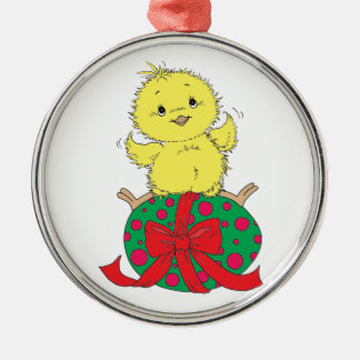 Chick on Easter Egg Metal Ornament