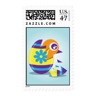 Chick on Easter Stamp