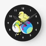 chick on two colored easter eggs clock