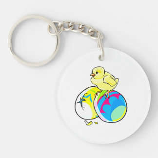 chick on two colored easter eggs Double-Sided round acrylic keychain