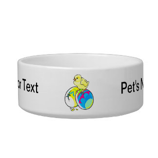 chick on two colored easter eggs pet bowls