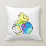 chick on two colored easter eggs pillows