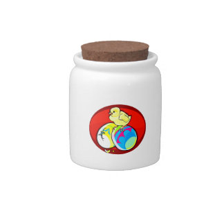 chick on two colored eggs red oval candy jar