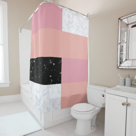 Chick orange pink white black marble color block shower curtain