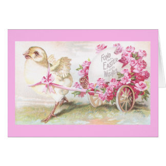 Chick Pulling Cart of Roses and Egg Vintage Easter Card