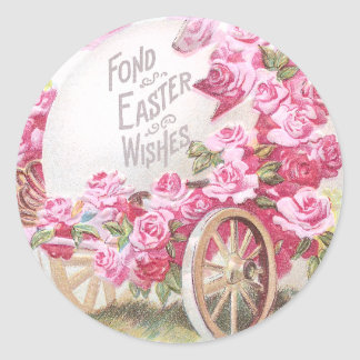 Chick Pulling Cart of Roses and Egg Vintage Easter Classic Round Sticker
