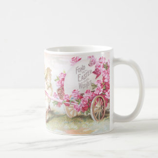 Chick Pulling Cart of Roses and Egg Vintage Easter Coffee Mug