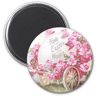 Chick Pulling Cart of Roses and Egg Vintage Easter Magnet